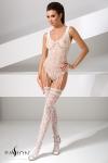 Combinaison BS051 - Blanc - Combinaison sexy en résille blanche, composée d'un body et de bas reliés par de fines jarretelles.