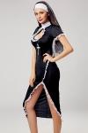 Déguisement sexy de nonne - Vous aimez braver les tabous? cette robe longue ultra sexy de religieuse et ses accessoires sont faits pour vous !