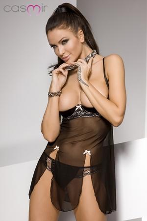 Nuisette seins nus Estes : Nuisette érotique en tulle, lycra et dentelle, au balconnet seins nus renforcé qui vous met en valeur.