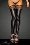 Bas wetlook Superstar - Bas wetlook sans pieds, avec une jarretière dentelle autofixante.