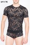 T-shirt Sensuality - Tee shirt homme moulant en dentelle à motifs de fleurs.