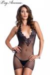 Mini robe résille dos nu - Mini robe résille dos nu avec décolleté en V plongeant.